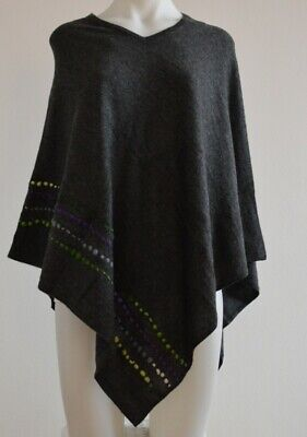 Embroidered Charcoal Cashmere Poncho Pashmina Wool Cape Wrap Soft Warm Women 36
