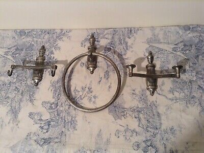 Vintage Style French Three Piece Bathroom Set - Towel Ring, Robe Hooks