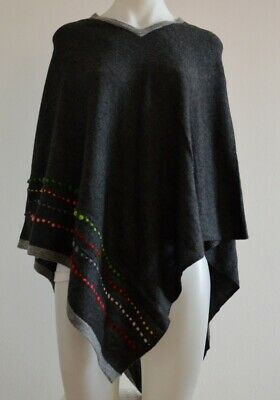 Embroidered Charcoal Cashmere Poncho Pashmina Wool Cape Wrap Soft Warm Women 37