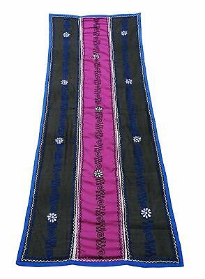 Vintage Dupatta Pink Long Stole Cotton & Net Indian Embroidered Shawl EMBDP8588
