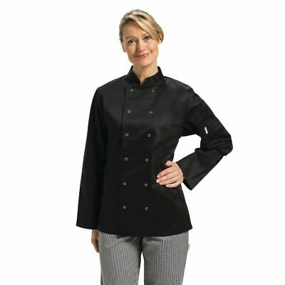 Whites Vegas Unisex Chefs Jacket with Long Sleeve in Black - Polycotton - XL