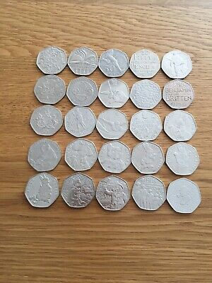 Rare Job Lot Bundle Of 50P Coins X 25 All Different