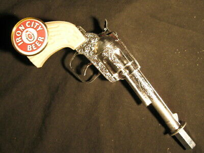 beer tap handle old western six shooter iron city