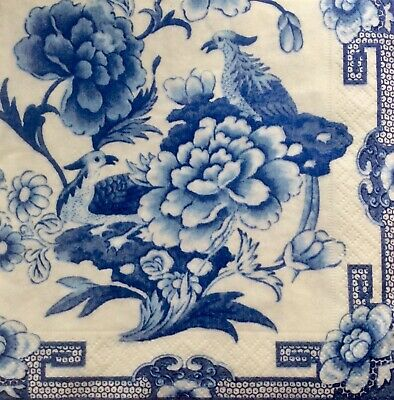 3 Paper Napkins for Decoupage / Parties / Weddings - Blue and White