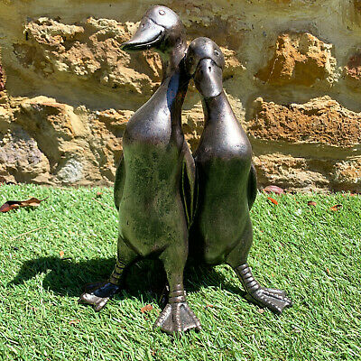 Vintage Garden Statue Sculpture Pair Of Ducks Decorative Figure Ornament Large