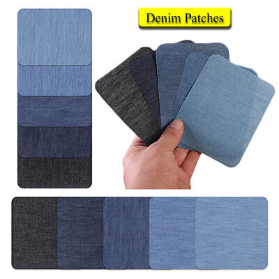 5Colors Iron on Denim Fabric Patches for Clothing Jeans Repair Kit Sewing Fabric