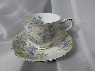 Royal Albert Crown China England 1930's Vintage Teacup & Saucer -Fringed Gentain