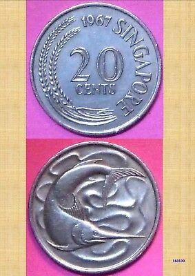 1969 Singapore 20 Cent Coin 160139...^
