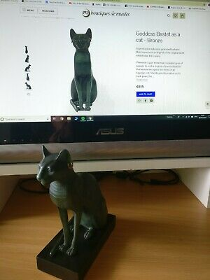 Egyptian Goddess Bastet Bronze Cat Figurine Lourve  Paris Museum Shop rrp  £550