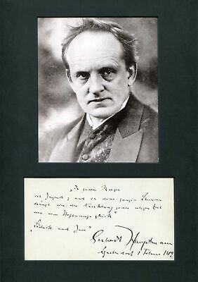 Gerhart Hauptmann NOBEL PRIZE IN LITERATURE autograph quotation signed & mounted