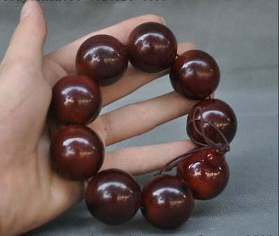 Old Chinese natural Ox horn Carving Buddha beads statue Bracelet