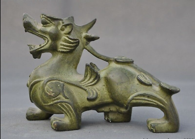 """6""""  Ancient Old Chinese bronze Feng Shui Unicorn Brave troops Pixiu beast statue"""