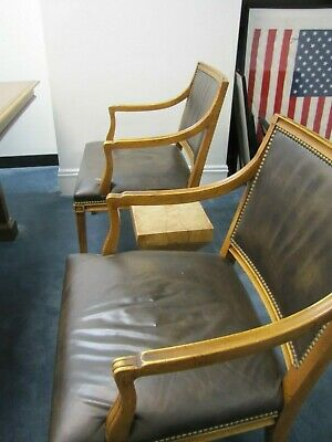 Vintage PAIR of  LEATHER + WOOD+ BRASS TACK ~Bankers Barrister Courthouse Chairs