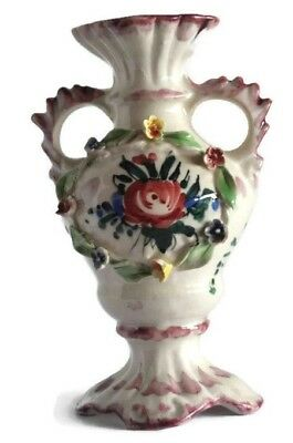 Floral Bud Vase Hand Painted Glazed Porcelain Ornate Decorative Made in Italy