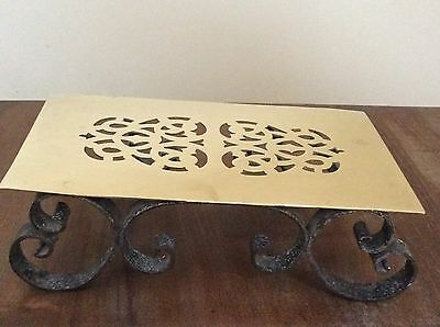 Antique Brass Patterned Trivet On Wrought Iron Base