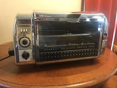 **WORKING**Vintage Chrome Sears Kenmore  Automatic Rotisserie Oven Broiler Grill