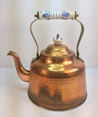 Old Copper&Brass Hot Water Kettle With Blue&white Porcelain Brass Handle