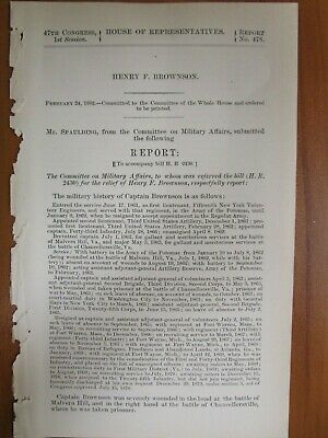 Government Report 2/24/1882 15th NY Vol Engineers Army Potomac US 3rd Artillery