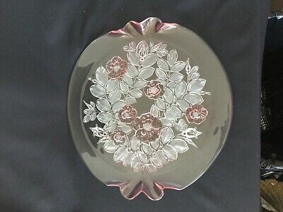 """Mikasa Rosella Pink Rose Floral Frosted Glass Round Serving Tray Raised  14.5 """""""