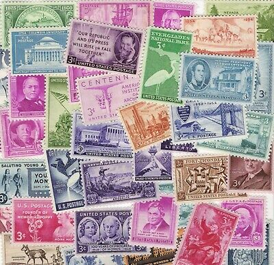 EIGHTY (80) Different Mint US 3 cent SINGLES Stamp LOT MNH