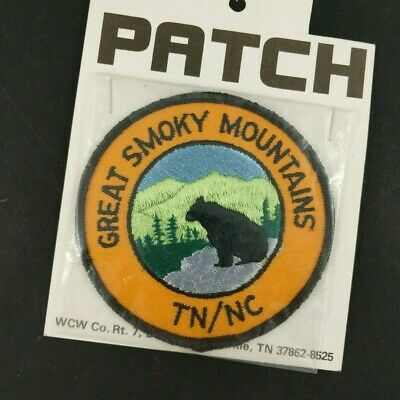 Vintage Great Smoky Mountains Patch Black Bear Travel Souvenir Tennessee NC