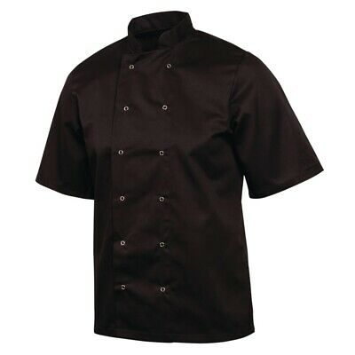 Whites Vegas Unisex Chefs Jacket with Short Sleeve in Black - Polycotton - S