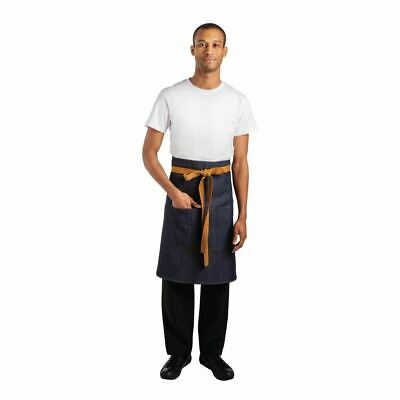 Whites Chefs Apparel Bistro Apron Blue Denim - 1000 x 900mm