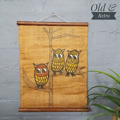 Lovely original vintage mid century hessian owl wall hanging retro wall art