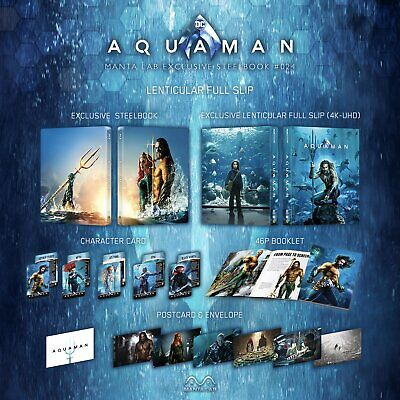 AQUAMAN STEELBOOK (LENTICULAR FULL SLIP) (4K & Bluray) Limited Edition Collector