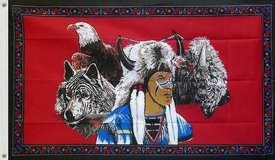 NATIVE INDIAN EAGLE WOLF FLAG 5ft X 3ft