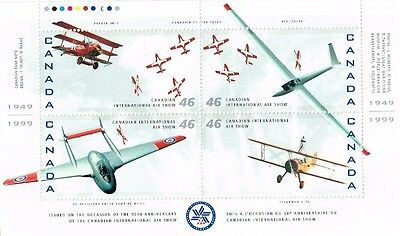 1999 #1807a-d Canadian Int. Air Show & #1808a-p Canadian Air Forces panes MNH