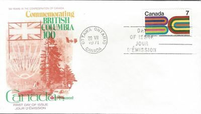 1971 #552 British Columbia Centennial FDC with Fleetwood cachet