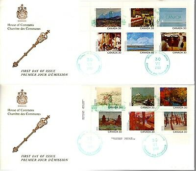 1982 #955-66 Canada Day Provincial S/S Scenes set of 2 FDC with House Of Commons