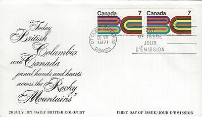 1971 #552 British Columbia Centennial FDC with Canada Post cachet unaddressed