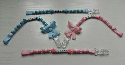 Personalised Dummy Clip/Holders/Pacifier for Girls and Boys*MAM Adapter