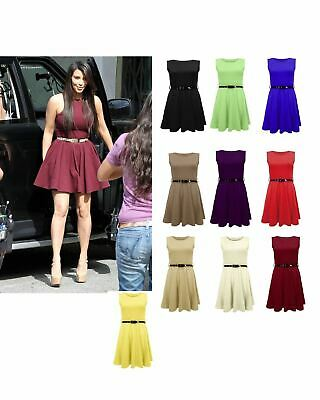 New Womens GIRLS Sleeveless Pleated Belted Flared Franki Mini Skater Dress Top