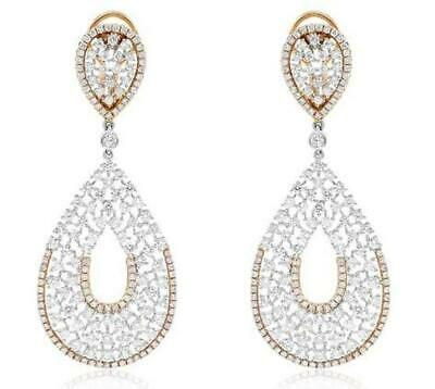 Large 8.25Ct Diamond 18Kt White Rose Gold Cluster Open Filigree Hanging Earrings