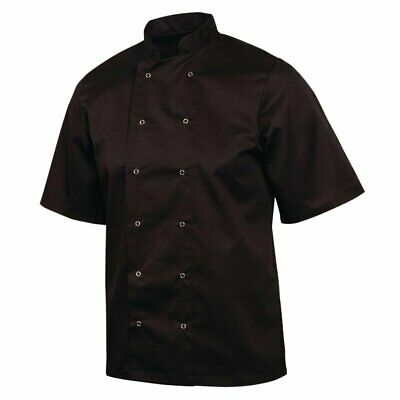Whites Vegas Chefs Jacket with Short Sleeves in Black - Polycotton - XL