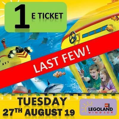 LEGOLAND Windsor 1 eticket - Tuesday 27th August 2019  Ticket EMAILED Lego Land