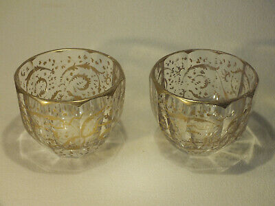 Pair of Antique Heavy Glass Finger Bowls with Gilt Decoration; Bohemian; Superb