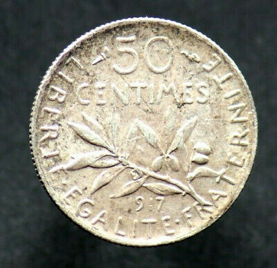 50 CENTIMES 1917 FRANCE Semeuse - argent / silver (01)