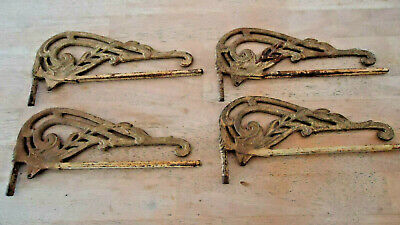 4 Antique Vtg Ornate Victorian Swing Away Arm Curtain  Rods Cast Iron parts