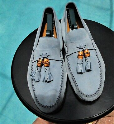 2be3ba79ac5b8 GUCCI MANS SKY BLUE SUEDE BAMBOO LOAFERS GUCCI SHOES SIZE 9.5 D '' ...