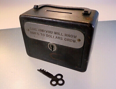 Vintage still Bank SAVE AND YOU WILL KNOW DIMES TO DOLLARS GROW with key