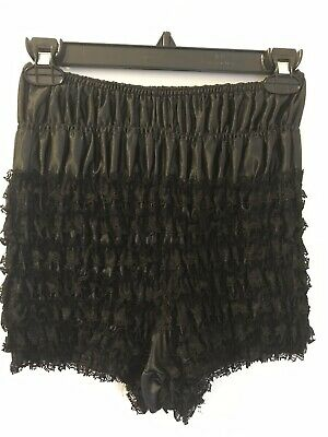 VINTAGE SAM'S 501 LARGE RUFFLED PANTY pettipants NYLON BLOOMERS SISSY Black