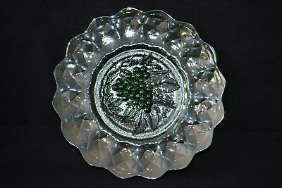 """Antique Imperial Carnival Glass Green Grape 11.5"""" Chop Plate"""