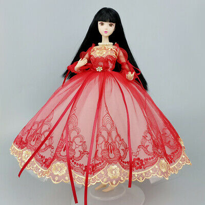 "Red Fashion Doll Clothes Countryside Floral Dress For 11.5"" 1/6 Doll Outfit Gown"