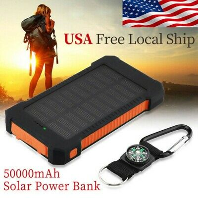For Cell Phone Solar Power Bank 2USB LED Portable Battery Charger 20000/50000mAh