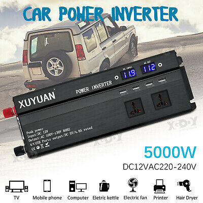 5000W Car Power Inverter DC12 To AC220V Sine Wave LED Converter LED Display USB