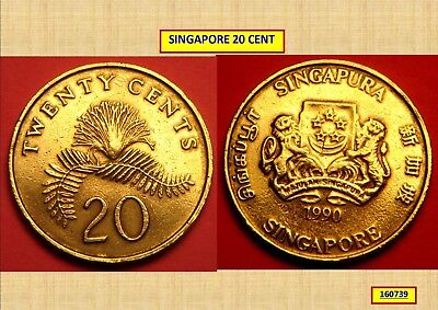 1990 Singapore 20 Cent Coin 160739...*